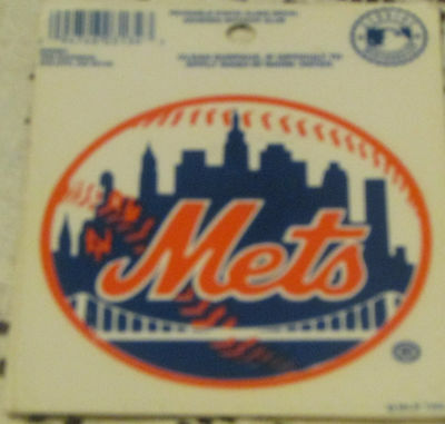 vintage reuseable static cling baseball window decal NEW YORK METS 1992