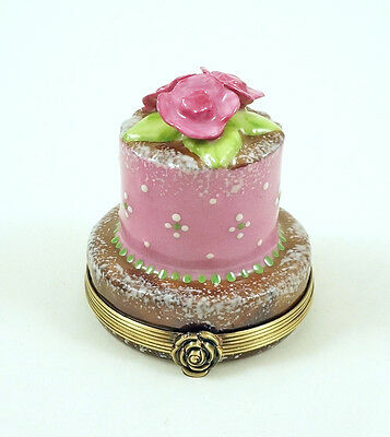 New French Limoges Trinket Box Yummy Chocolate & Pink Cake With Amazing Roses