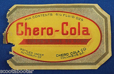 CHERO-COLA - early soda bottle paper label vintage 1915-1925 - COLUMBUS, GA