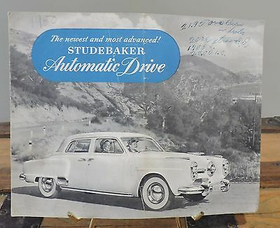 1950 Studebaker Automatic Drive Sales Fold Out Brochure