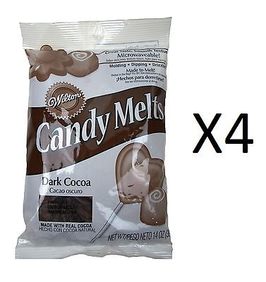 Wilton Candy Melts/Wafers 12oz Dark Cocoa Flavor Candy Making Supplies (4-Pack)