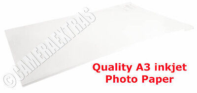A3 240gms Quality Glossy Inkjet Photo Printer Paper Pack 20 sheets White UK