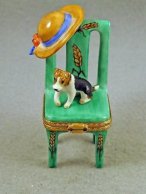 New French Limoges Trinket Box Cute Fox Terrier Dog Puppy On Green Chair W/ Hat