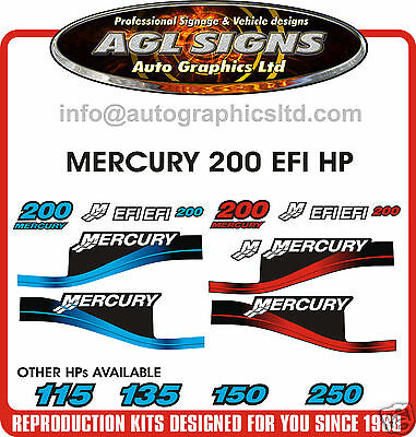 Mercury 200 Efi Outboard Decal Kit, Blue & 150 175 250 Hp's Available