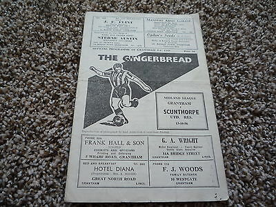 1956-1957 Grantham v Scunthorpe Reserves. Midland Non League Football Programme.