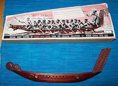 Wood Carving of a Maori War Canoe from the Derek Collection, New Zealand-Boxed