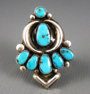 Old Vintage Zuni Sterling Repousse Turquoise Arrow Directional Ring 8.75