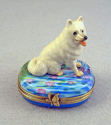 New French Limoges Trinket Box Cute Samoyed Dog Puppy On Striped Box With Gold