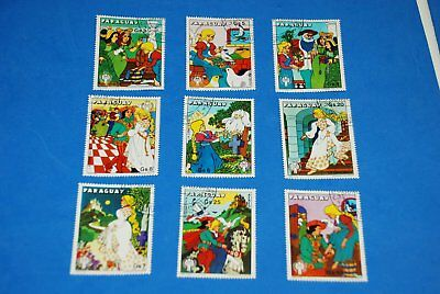 Disney Cartoon - Cinderella Sc 1893-1895 Complete Set of 9, Paraguay qq