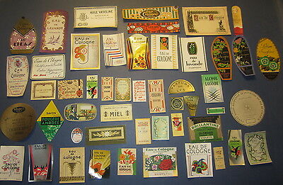 Lot of 50 Old Vintage -  French PERFUME & BEAUTY LABELS - All Different