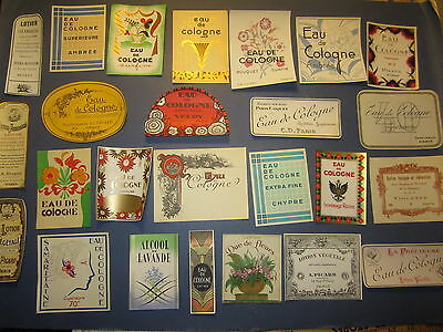 Lot of 25 Old Vintage -  French PERFUME & BEAUTY LABELS - All Different