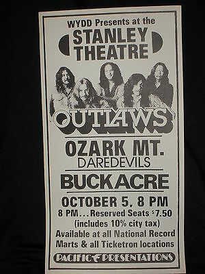 The Outlaws Ozark Mt. Daredevils Buckacre Stanley Theatre Concert Poster 1976 PA