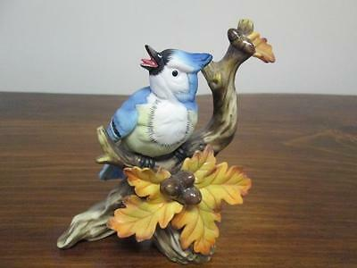 """Blue Jay Figurine Sitting On Branch Leaves And Acorns Gently Used 6 """" Tall"""