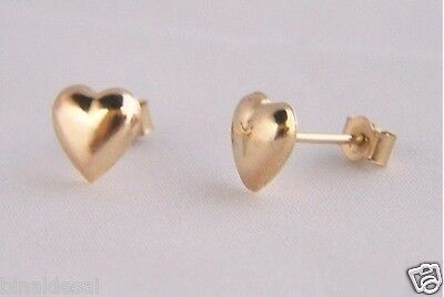 SOLID 9ct Yellow GOLD 7mm PLAIN HEART STUDS EARRINGS B'Day LOVE Anniversary GIFT