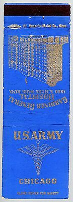 Military Wwii Us Army Gardiner General Hospital Chicago Il 20 Fs Matchbook Cover
