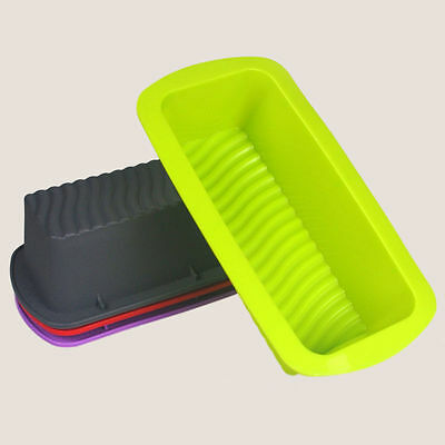 Silicone Rectangle Non Stick Bread Loaf Cake Mold Bakeware Baking Pan Mould WB