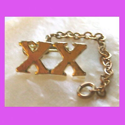 Official XX Roman Numeral 20 Year Adult Girl Scout Pin Chain Guard Combine RARE