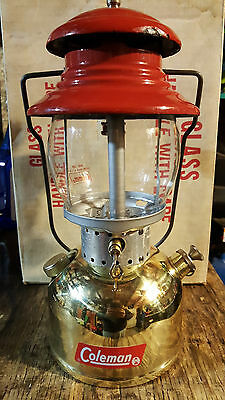 Vintage Coleman 5/64 Model 200 Gold Single Mantle Lantern, Case, Funnel, Mantles