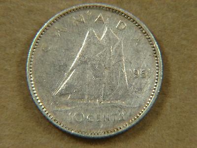 1951 Canada 10 Cents Silver Coin