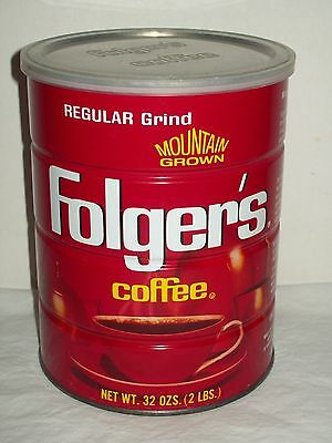 Vintage Folger's 2 lb Coffee Can - Plastic Lid