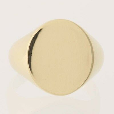 Men's Oval Signet Ring - 14k Yellow Gold Engravable Size 10 1/4