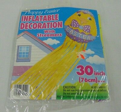 "New Vintage 30"" Happy Easter Inflatable with Streamers Decoration Purple Yellow"