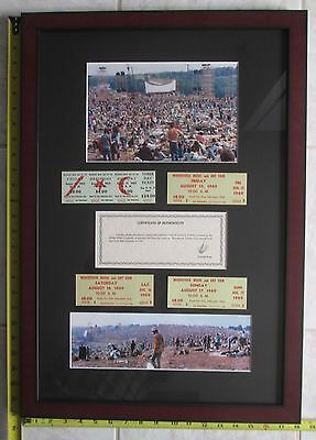 4 Framed Original Woodstock Tickets, 3 Day and 3 One Day w/ Certificate Photos