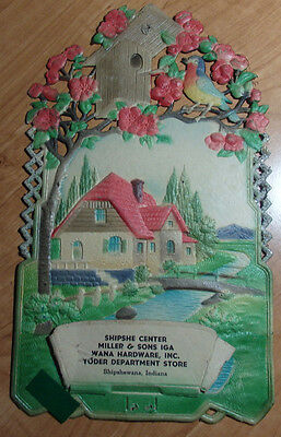 Early 1900's Die Cut Calendar Shell Wall Art From Shipshewana Indiana