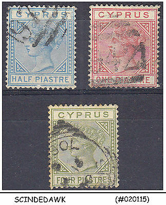 Cyprus - 1882-94 Selected Qv Stamps - 3V - Used