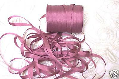 EMBROIDERY RIBBON 100%SILK~ ANTIQUE ROSE color # 681~4MM  10YDS