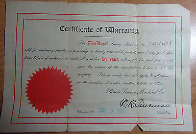 1902 Certificate Of Warranty Of The New Royal Sewing Machine Illinois Smc