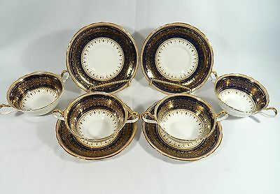 4 AYNSLEY CREAM SOUPS with UNDERPLATES Cobalt & Gold Pattern 7098  Rd#754522