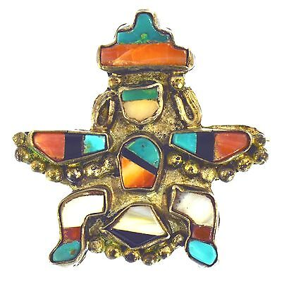 Zuni Turquoise Mop Coral Inlay Knifewing Kachina Brooch Sterling Silver Estate