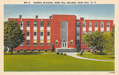 Mars Hill North Carolina NC Science Building College Linen Postcard Unposted