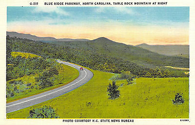 North Carolina Blue Ridge Parkway Road Table Rock Mountain Linen Unposted Card