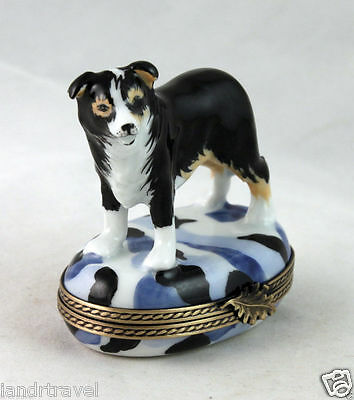 NEW HAND PAINTED FRENCH LIMOGES BOX Black And White Border Collie Dog