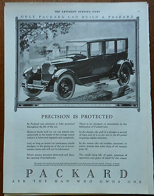 1925 magazine ad for Packard Autos, Precision is Protected, Packard 6 sedan-limo