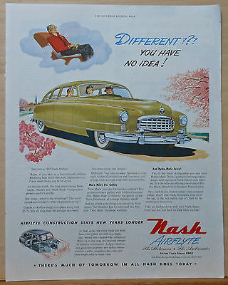 1950 magazine ad for Nash Airflyte - Different??? You have no idea! colorful ad