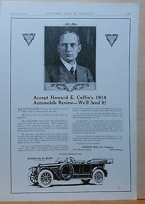 Vintage 1913 magazine ad for Hudson - Howard Coffin recommends six cylinder cars