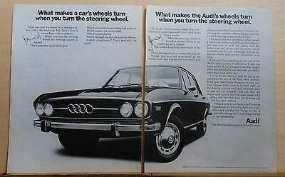 1970 two page magazine ad for Audi - 100 LS photo, Rack & Pinion Steering