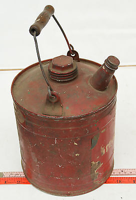 small old vintage red coal oil kerosene gas can. 1 gallon?