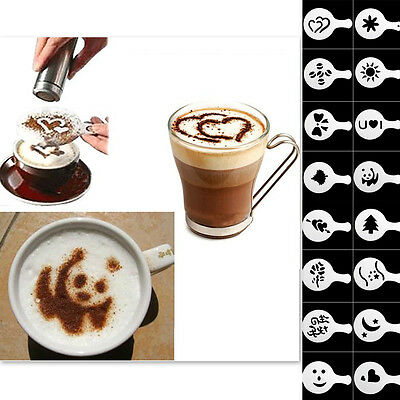 16PCS Coffee Machine Barista Stencils Template Strew Flowers Pad Duster Spray