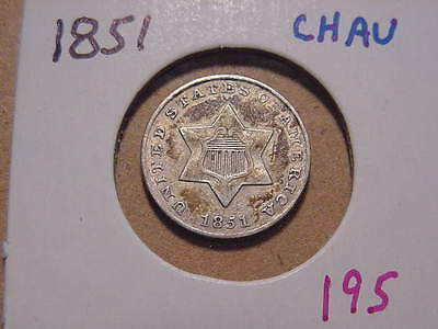 1851 Three Cent Silver Choice Au Nice Attractive Color And Luster