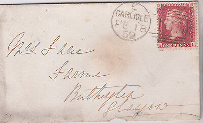 1859 QV SMALL CARLISLE COVER WITH FINE 1d RED STAMP MAILED TO GLASGOW