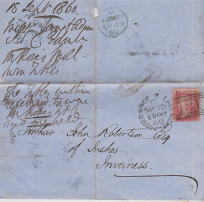1860 QV RARITY POSTED SINCE 7 LAST NIGHT CANCEL ON WRAPPER WITH 1d RED STAMP