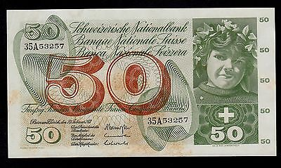 SWITZERLAND  50 FRANKEN 1971 PICK # 48k AU BANKNOTE.