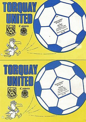 2 x Torquay United v Chester 31st March 1984 Postponed & 2nd May 1984
