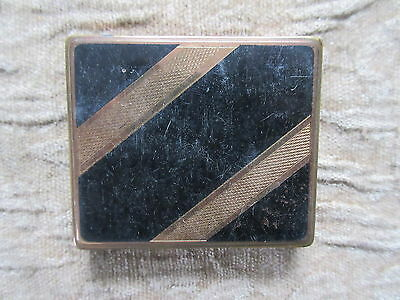 Old Vintage Compact Stratton Made in England Black & Copper Stripe