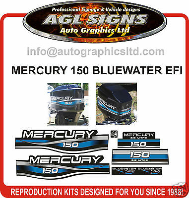 1999 - 2001 MERCURY 150 EFI  BLUEWATER DECAL SET  200 125 250 hp's also avail.