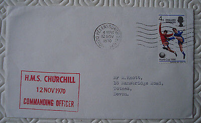 Forces cover `HMS Churchill` with `England Winners` World Cup stamp (Nov 1970)